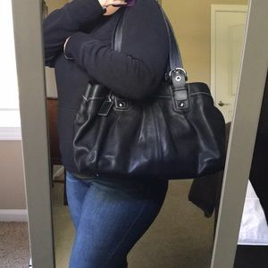 BEAUTIFUL, large black coach bag!!! F13733